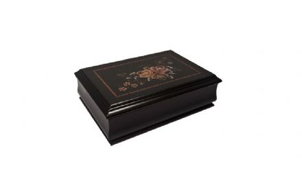 Black Floral Musical Jewellery Box 28077
